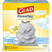 Glad® ForceFlex Tall Kitchen Drawstring Trash Bags – 13 Gallon Trash Bag, Fresh Clean scent with Febreze Freshness – 110 Count (Package May Vary)