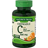 Chewable Vitamin C with Rose Hips | 500 mg | 60 Tablets | Vegetarian, Non-GMO, Gluten Free | by Nature's Truth