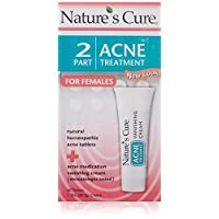 Nature's Cure Two-Part Acne Treatment System, for Women, 1 month supply (60 Tablets, 1 Ounce Cream - Pack of 1)