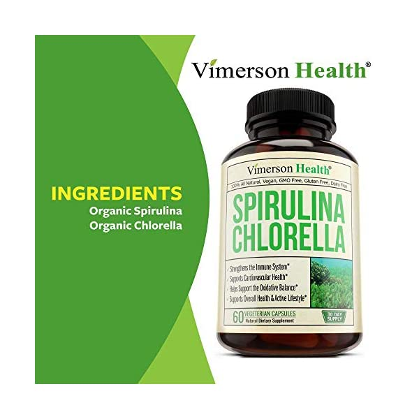 Spirulina Chlorella Organic Green Superfood. Source of Iron and Protein, Boosts Energy, Supports Cardiovascular Health. Antioxidant Properties for Detox and Cleanse