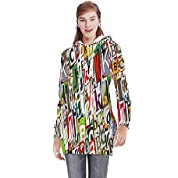 Colorful Pattern on Wood Texture Background,Funky Women's Long Hoodie Dress M