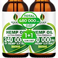 Hemp Oil Drops 240 000 mg, 100% Natural Extract, Anti-Anxiety and Anti-Stress, Natural Dietary Supplement, Rich in Omega 3&6 Fatty Acids for Skin & Heart Health, Vegan Friendly
