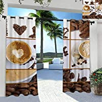 SeptSonne Kitchen Outdoor Curtain Panel Thermal Insulated Blackout Outdoor Gazebo Pool Coffee Themed Collage of Beans Mugs Hot Foamy Drink with a Heart Macro Aroma Photo Brown White 108