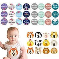 36 Pcs Baby Milestone Stickers Kit-12 Pcs Baby Animal Monthly Stickers/12 Pcs Floral Monthly Milestone Skill Cards/12 Pcs Baby's First Holiday Sticker,Newborn Monthly Stickers Gift