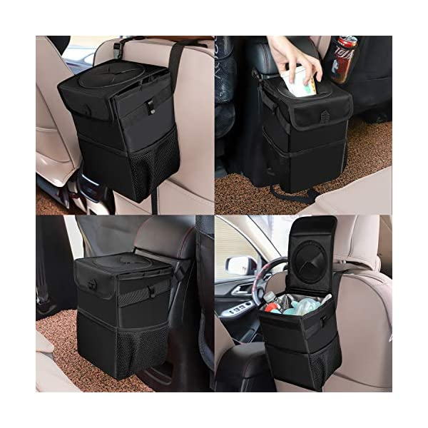 Car Trash Bag Hanging with Storage Pockets Collapsible and Portable Car Garbage Bin Ryhpez Car Trash Can with Lid