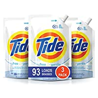 Tide Free and Gentle HE Laundry Detergent, Pack of 3 Smart Pouches, Unscented and Hypoallergenic for Sensitive Skin, 93 Loads