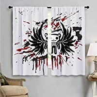 Room Darkening Wide Curtains, Comic Dead Skull Face, Customized Curtains W55 x L39 Inch