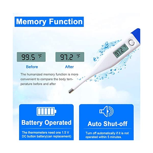 jin&Co Accessories Digital Thermometers Infant Adult LCD Display Sound Prompt Body Temperature Accurate Measuring Tool
