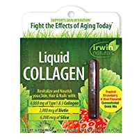 Irwin Naturals Liquid Collagen 4,000mg Hydrolyzed Type 1 & 3 Anti-Aging Support - Healthy Skin, Hair & Nails with Antioxidants, Biotin & Silica - Strawberry Kiwi Flavor - 10 Liquid-Tubes