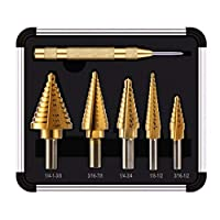 Step Drill Kit,Knoweasy 5PCS HSS Titanium Step Drill Bit Set with Automatic Center Punch,Multiple Hole 50 Sizes of High Speed Steel Step Drill Set with Aluminum Case