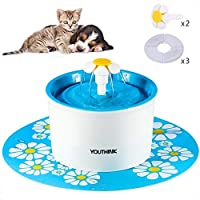 YOUTHINK Cat Fountain, 1.6L Automatic Super Quiet Pet Water Fountain with 3 Filter, 2 Flower and 1 Silicone Mat, Support 3 Waterfall Setting, Keep Pet Healthy, Pet Drinking Fountain for Dog and Cat