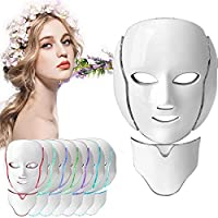 JYY LED Face Beauty Mask, Facial Mask 7 Colors Blue Red Light Face & Neck Skin Tender Anti-Aging Wrinkles Removal Beauty Machine