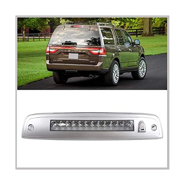 Black Housing Clear Lens 2003-2016 Lincoln Navigator Rear Roof Center LED High Mount Third 3rd Brake Stop Tail Light Assembly Replacement for 2003-2016 Ford Expedition