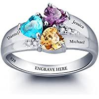 Diamondido Personalized Simulated Birthstone Rings for Couple Custom Engraved Names Promise Lover Rings for Women