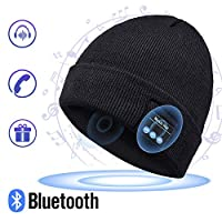 Bluetooth Hat Beanie, Mens Gifts, Music Hat with Wireless Bluetooth V5.0 Winter Hat Built-in HD Stereo Speakers & Microphone with Rechargeable USB for Winter Outdoor Sports (Fashion Cuffed Beanie)