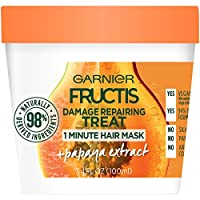 Garnier Fructis Damage Repairing Treat 1 Minute Hair Mask with Papaya Extract for Shine and Scalp Health, 3.4 Fl Oz (Pack of 1)