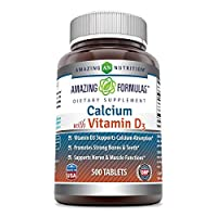 Amazing Formulas Calcium with Vitamin D3 Tablets - Supports Calcium Absorption* -Promotes Strong Bones & Teeth* -Supports Immune, Nerve & Muscle Functions* (500 Count (Pack of 1))