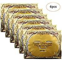 Jakuva 6 Pieces 24K Gold Facial Masks Crystal Collagen Face Mask Sheet Facial Patch Peel Off Moisturizing Facial Mask For Anti Aging Puffiness Skincare Anti Wrinkle Deep Tissue Rejuvenation