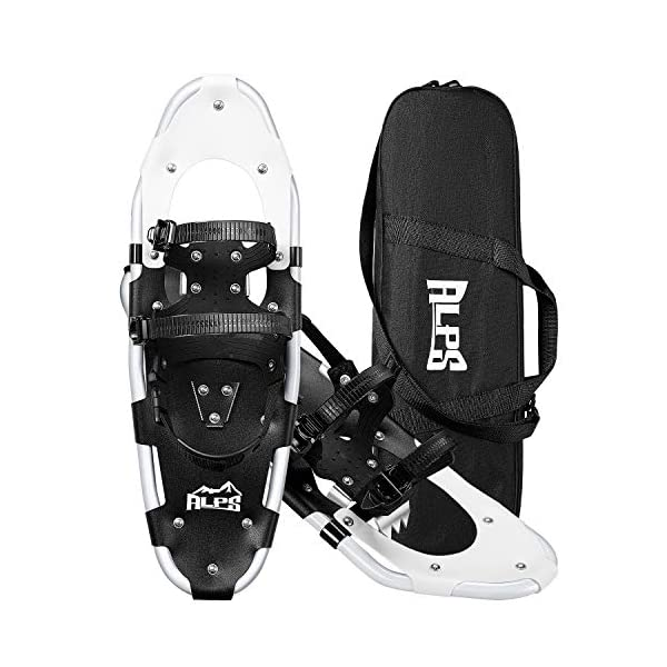 Goplus 25-inch Snowshoes for Men and Women Lightweight Snowshoes w//Heel Lift Anti Slip Snow Shoes for Hiking Hard Rack Grip Teeth and Carrying Bag Climbing Adjustable Ratchet Bindings