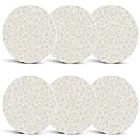 Ivory Drink Coasters,Baroque Style Curved Leaves and Floral Blooms Artistic Nature Beauty Kitsch Design Motif for Men Women & Holiday PartySet of 6