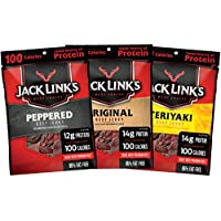 Jack Link's Beef Jerky Variety Pack, 15 (1.25 oz Bags) – Variety Pack Includes Original, Teriyaki and Peppered Beef Jerky, Great for Lunch Boxes, Good Source of Protein – 96% Fat Free, No Added MSG