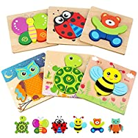 Toddler Puzzles, Wooden Jigsaw Animals Puzzles for 1 2 3 Year Old Girls Boys Toddlers...