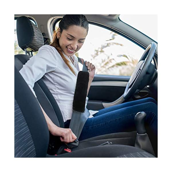 Compatible with All Cars Australian Genuine Sheepskin Wool Auto Seat Belt Pad Seatbelt Shoulder Cover for a More Comfortable Driving