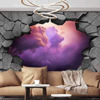 Wall Paper Decorations 3D trap Dark cracked broken hole in concrete wall Art Magic D Milky Way Removable Wall Mural ,154