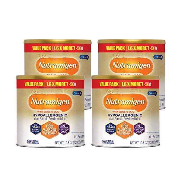 Enfamil Nutramigen Hypoallergenic Colic Baby Formula, Lactose Free Milk Powder, 19.8 Ounce - Omega 3 DHA, LGG Probiotics, Iron, Immune Support, Pack of 4 (Packaging May Vary)