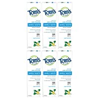 Tom's of Maine Simply White Toothpaste Gel, Whitening Toothpaste, Natural Toothpaste, Sweet Mint Gel, 4.7 Ounce, 6-Pack