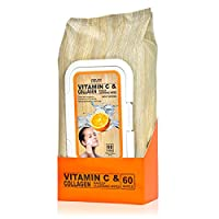 Vitamin C & Collagen Moisturizing Facial Wipes – Removes Makeup, Dirt & Oils | Hydrates Skin | Tones & Brightens - 60 Wipes