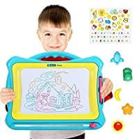 NextX Magnetic Drawing Board, Earseable Doodle Pad, Learn Creative Toy for Age 2 + Year Old Boy and Girl with Stamp (Blue-Yellow)