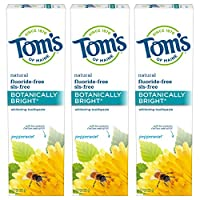 Tom's of Maine Fluoride-Free Botanically Bright Toothpaste, Natural Toothpaste, Toms Toothpaste, Peppermint, 4.7 Ounce, 3-Pack