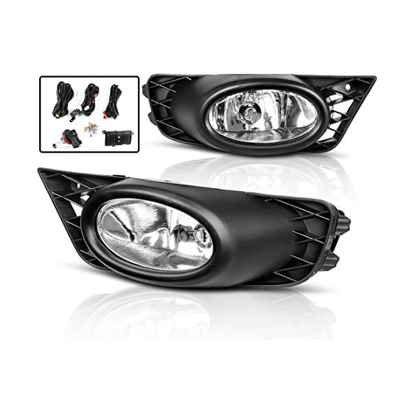 Fog Lights for Honda Civic Sedan 2009 2010 2011 Real Glass Clear Lens with Bulbs /& Wiring Harness