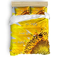 Elfantasy Luxury 4pc Duvet Comforter Cover Set for Women Men,Bee Sunflower Super Soft Bedding Set with Zipper Closure,Include 1 Duvet Cover 1 Bed Sheets 2 Pillow Cases Queen Size