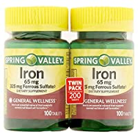 Spring Valley Iron 65 mg, 100 Tablets (2 Pack)