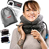 Pinched Nerve Neck Stretcher Cervical Traction Device for Home Pain Treatment | Inflatable Spinal Decompression Collar Unit Muscle Strain Injury Relief | Herniated Disc Problems Remedy Kit (Gray)