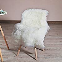 HLZHOU Soft Faux Fur Rug White Sheepskin Chair Cover Seat Pad Shaggy Area Rugs for Bedroom Sofa Living Room Floor (2x3ft, (60x90cm) White)