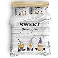 Luxury 4pc Duvet Comforter Cover Set for Women Men,Gnome Sweet Farm Home Sunflower Bee Super Soft Bedding Set with Zipper Closure,Include 1 Duvet Cover 1 Bed Sheets 2 Pillow Cases Queen Size