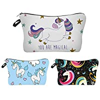 Waterproof Makeup Bag 3pcs/Set Super Cute Printing Cosmetic Bag Unicorn Gifts for Girls Travel Organizer bag(Unicorn)