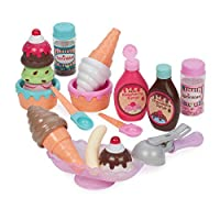 Play Circle by Battat – Sweet Treats Ice Cream Parlour Playset – Sprinkles, Cones, Spoons, Cups - Pretend Play Food Decorating Kit – Toy Frozen Dessert and Accessories for Kids 3 and Up (21 pieces)
