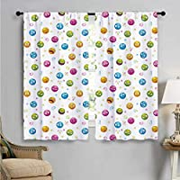 SUZM Window Curtain Fabric, Colorful Round Fun Faces, Drapes for Living Room W63 x L63 Inch