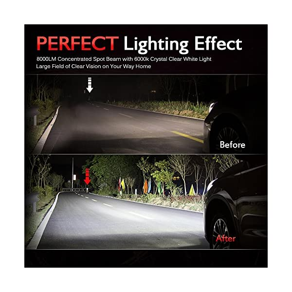 MICTUNING Extremely Bright H4 80W 8000 Lumens Hi//Lo Beam LED Headlight Bulbs 6000K White, Pack of 2 9003