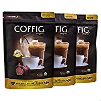 COFFIG Roasted Fig Beverage - Coffee Substitute Caffeine Free - Certified 100% Organic Beverage - Sugar Free - Gluten Free - Delicious Fruit Energy Drink Highly Concentrated, 3-Pack