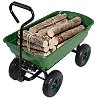 KARMAS PRODUCT Garden Dump Cart Utility Wagon Wood Mover Potted Plants Firewood Carrier Transit Cart with Steel Frame and Handle, Daily Use, 550-Pound Capacity