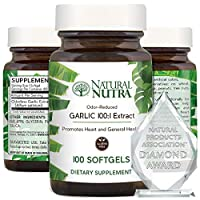 Natural Nutra Garlic Supplement, Odorless Garlic Oil Extract Pills for High Blood Pressure and Cholesterol, Heart and Immune System Health, Allium Sativum, 500 mg, 100 Capsules