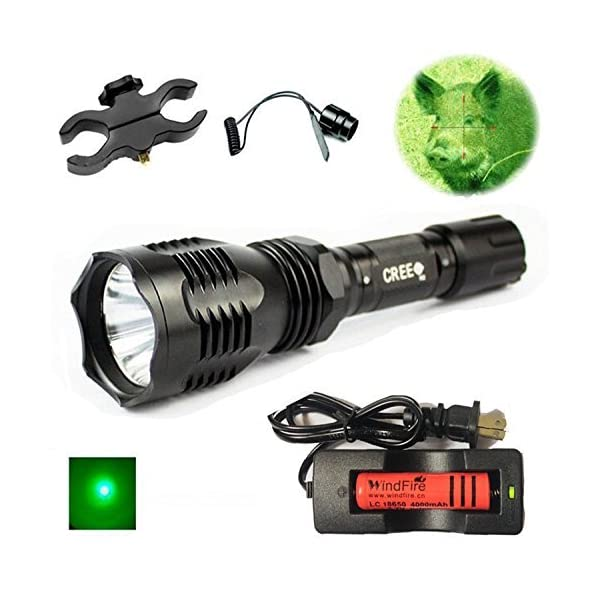 Red Green White LED Flashlight Hunting Coyote Torch Tactical Rail Mount For Hog