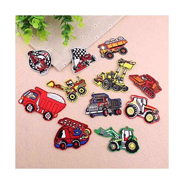 Jeans Backpack Kids Car Embroidered Patches-Iron on Patches-Vehicle Embroidery Patches-Assorted DIY Sew on Applique Truck Patches-Cute Patches for Boys Girls-Decorative Patches for Jackets Clothes