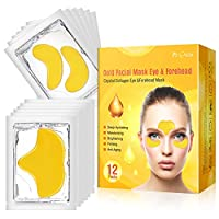 24K Gold Under Eye Mask & Forehead Patches, Collagen Eye Patches Mask Dark Circles Treatment Puffy Eyes Wrinkle, 12 Packs