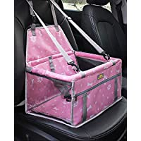 MARSLABO Dog Car Seat Upgrade Portable Dog Booster Car Seat Waterproof with Clip-On Safety Leash, Perfect for Small Pets up to 15 lbs Pink